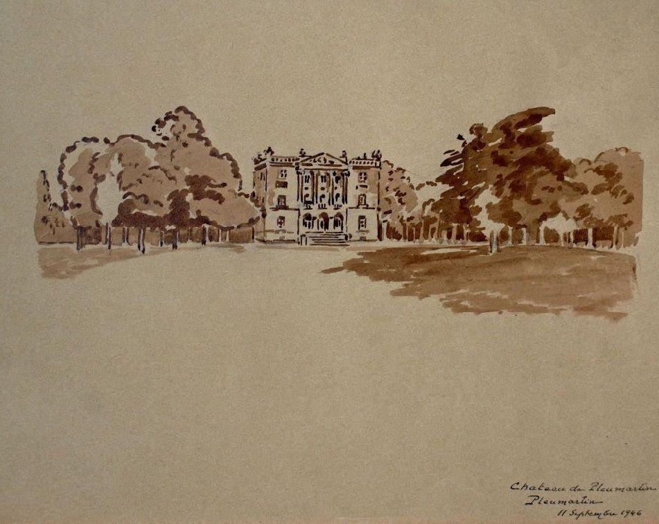Château de Pleumartin, dessin de René Duvau Musées de Châtellerault