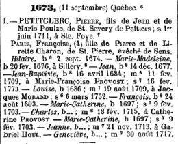 extrait du dictionnaire généalogique des familles canadiennes  Tanguay, Cyprien (1819-1902).