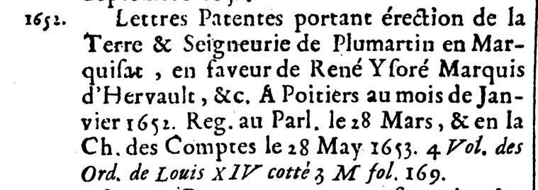 1652, Pleumartin devient un marquisat